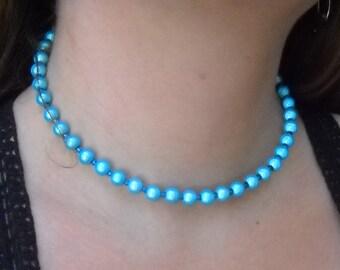 Playfull Blue/Green Glass Bead Choker Necklace