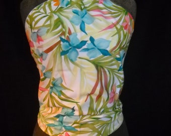Blue Hawaiian Flowers on White Halter Top, Fits Women and Teens Size 0 to 12