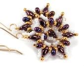 Metallic Violet and Gold Snowflake Beaded Earrings