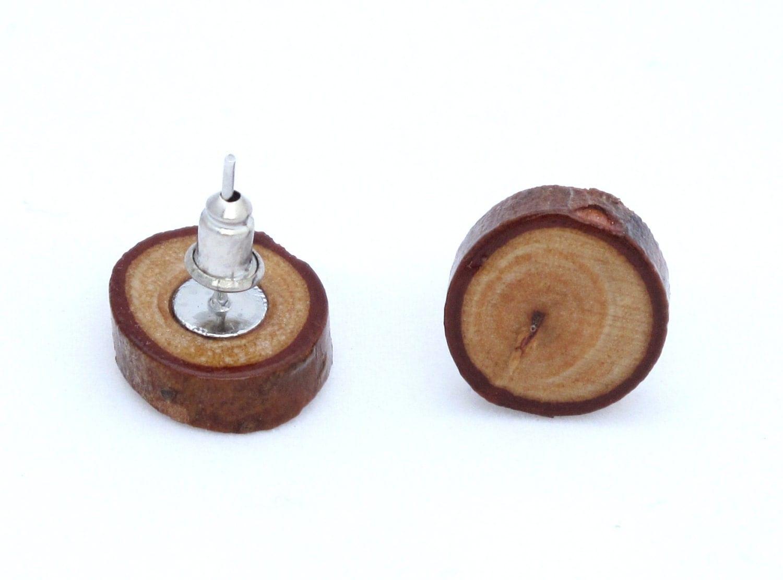 wooden stud earrings by linzzuelich on etsy