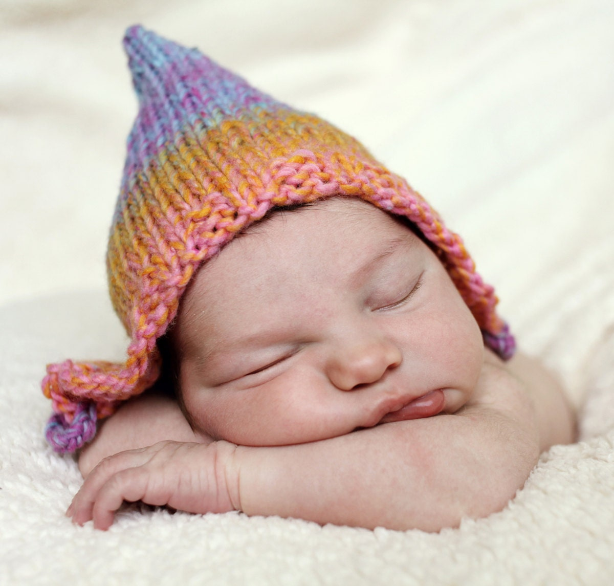 Knitting Pattern Baby Pixie Hat pdf RAINBOW by LoveFibres on Etsy