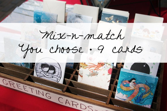 Your choice - set of 9 assorted cute little blank greeting cards - ANY occasion