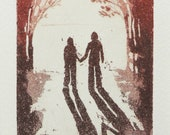 togetherness, never alone - original color etching, dry point and aquatint. Walking hand in hand into the light.