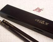 Monogrammed Chopstick Box + Darkwood Chopsticks