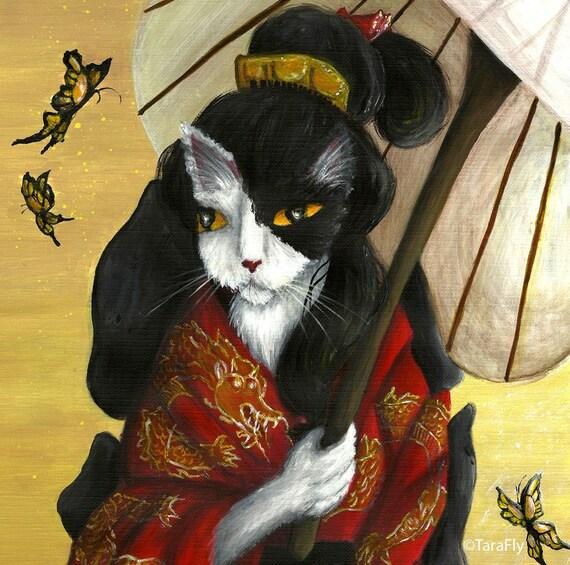Kimono Cat Art, Black and White Cat Dressed in Japanese Red Kimono 8x10 Fine Art Print