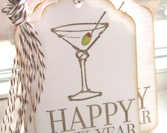 Happy New Year Gift Tags, Martini Gift Tags