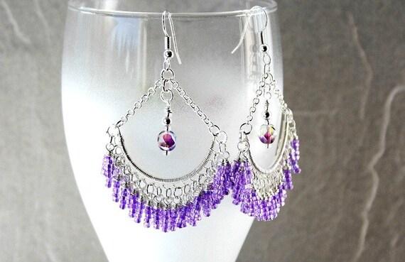 Lilac Tassel- Silverplated Lace Chandelier Earrings-FREE SHIPPING SALE Reg.13.50