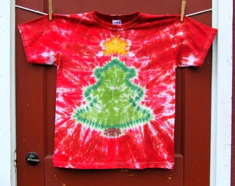 Christmas Tree Tie Dye T-shirt - Made to Order - Candy Red - YOUTH size XS, Sm, Med, Lg