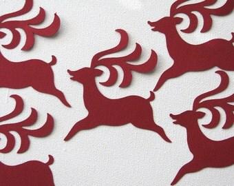 Christmas reindeer die cut embellishments in burgundy set of 12
