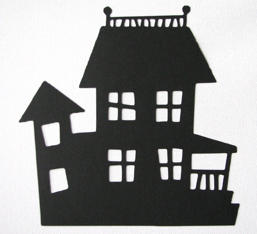 Halloween haunted house die cut silhouette for Decoration maison halloween