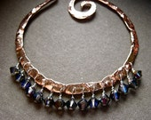 Lg Swirl Hoop with Gemstones - Copper E975 or Bronze E976
