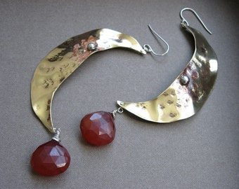 Harvest moon one of a kind bronze patina earrings with fat carnelian drops