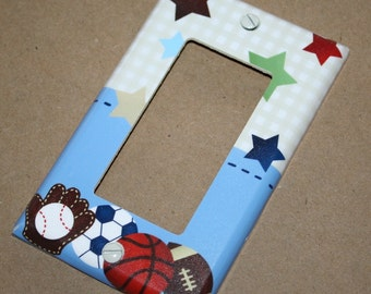 All Star Sports Boys Bedroom Single Light Switch Cover