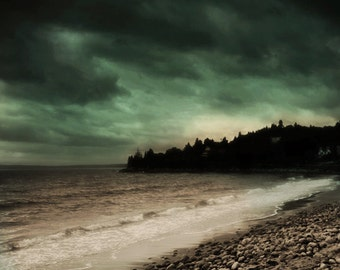 Landscape Photography Nature Photography Nova Scotia Canada Ocean Dark Green Beach Canadian Seller Metallic Print- Dawn of Tomorrow