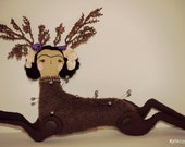 One of a Kind - FRIDA KAHLO DEER - White and Purple