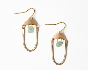 Brass U Bar Earrings with Jade Green Accents