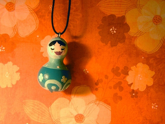 Gourd Doll Pendant - Forget-Me-Not