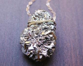 Pyrite Cluster Gold Necklace