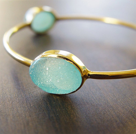 Aqua Blue Druzy Gold Bangle