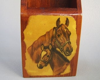 Vintage Wood Horses Match Keeper Safe Holder 70s Mare Foal