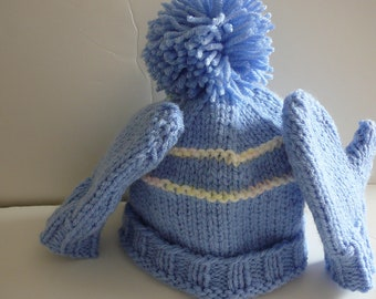 Knit Toddler Hat and Mittens Set     READY TO SHIP    Size 12 to 24 Months