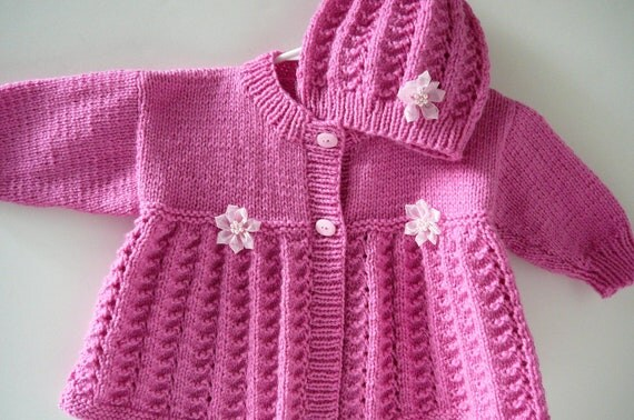 Pink Knit Matinee Baby Coat and Hat with Flowers     READY TO SHIP   Size 6 to 12  months