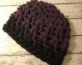 Women's Hat, Women's Crochet Hat, Women's Beanie, Women's Winter Hat, Knit Hat, Crochet Hat Charcoal Gray Purple