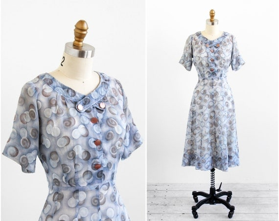 vintage 1940s dress / 50s dress / Sheer Gray and Blue Bubbles Day Dress