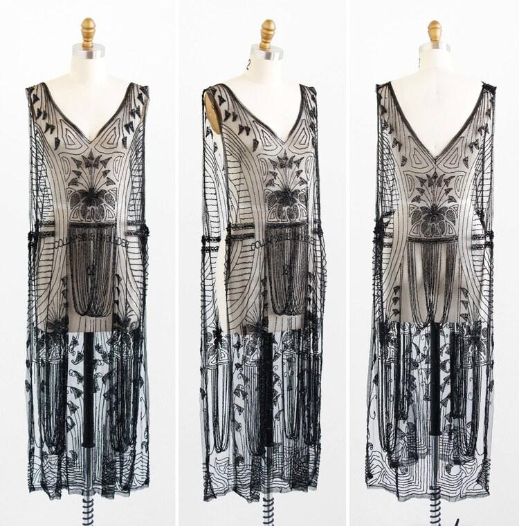 Robe vintage des ann es 20 20 s flapper robe par rococovintage - Robe vintage annee 20 ...