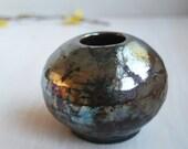 Raku Vase Metallic Glaze Rustic Round Mirror Shiny Vessel Ancient Looking Piece Handmade Stoneware Pottery
