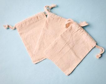 12 Muslin Bags 4x6, Natural Drawstring Sack, Rustic Gift Bag Wedding Favor