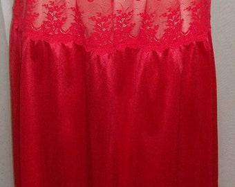 Vintage Ashley Taylor Red Lot of Lace Half Slip Nylon Medium