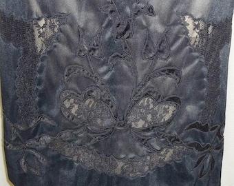 Vintage Lace Inlay Tulip Design Nylon Half Slip Black Lace Small
