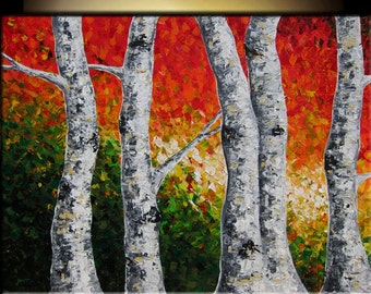 Large Painting Abstract Painting Acrylic Painting of Birch Trees Original Landscape Painting
