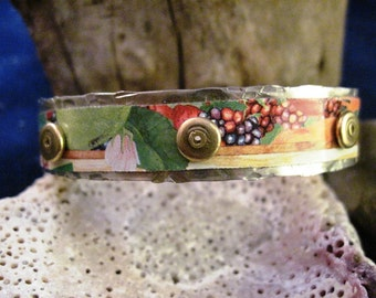 Multicolored tin and silver cuff bracelet