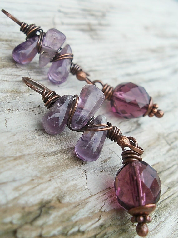 Lavender Amethyst and Dark Purple Glass Earrings Antiqued Copper Wire Work