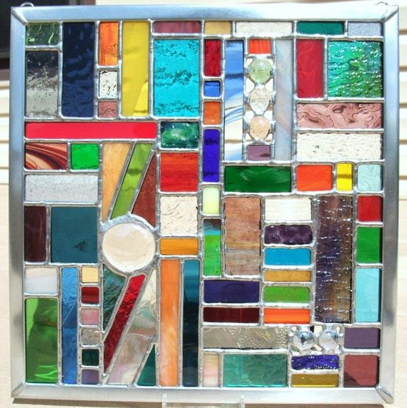 Rainbow of Colors Geometric Stained Glass Panel