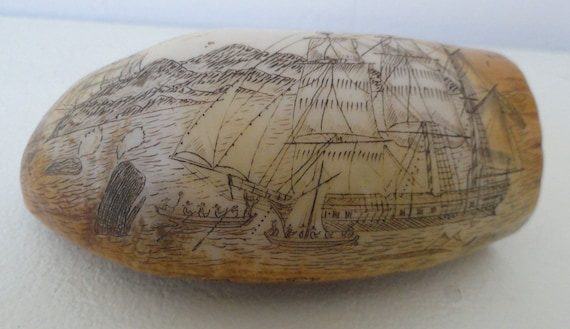 Vintage Tooth Scrimshaw Whale or Walrus