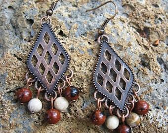 Copper & Gemstones Earrings