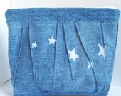 Denim Project Bag, Arts & Crafts Supply Bag or Tool Organizer, Stars on Blue Denim