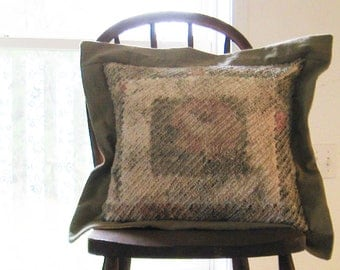 Faux Chenille Rose Pillow Cottage Chic Cover Cream Sage
