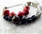 Vintage Beaded Necklace, Red, Black, Cream, Geometric