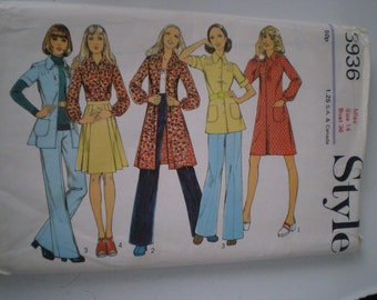 Style 3936 Vintage 70s Misses Dress Tunic Or Blouse Skirt And Trousers Size 14 UNCUT