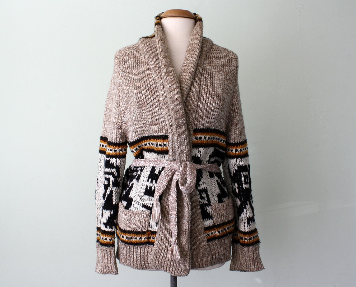 70 Sweater Navajo Native Print Belted Knit Cardigan S M