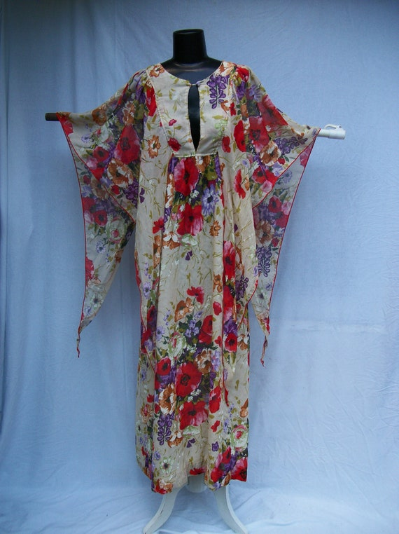 70s Sheer Cotton Maxi Dress size Small Angel Sleeves Poppies