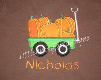 Wagon of Pumpkins Fall Halloween Thanksgiving Custom Personalized Shirts Family Girls Boys Dad Mom Name Included Appliqued Embroidered