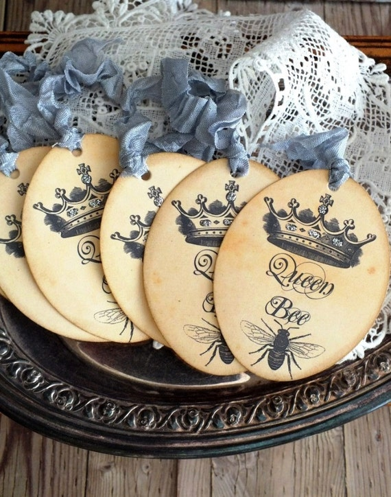 French Bee and Crown Oval Gift/Merchandise Tags Handmade by avintageobsession on etsy