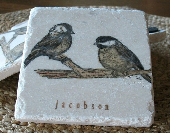 Personalized Chickadee Tile Coasters - Bird Lover Gift - Nature Home Decor - Set of 4