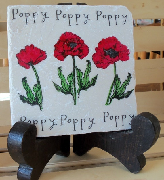 Poppy Tile Trivet - Gift for the Gardener - Ready to Ship