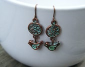 Copper and Patina Bird Earrings